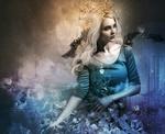 Обои Девушка с голубыми цветами, by stellartcorsica
