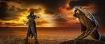 Обои Волшебница сражается с громадной змеей, закат, by Peter Fischer