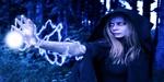 Обои Колдунья с файерболом в лесу, в синих тонах, by Phillip Black