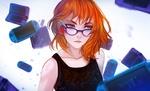 Обои Рыжеволосая девушка в очках среди PlayStation, by m0queur