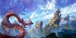 Обои Два дракона подлетают к замку на высокой скале, на одном из них сидит китайская пара в исторических костюмах