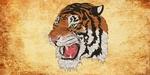 Обои Цифровая морда оскалившегося тигра, двухтоновый фон, by Chiplanay