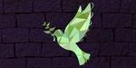 Обои Стилизованный голубь с оливковой веткой в клюве на фоне кирпичной стены, символ мира, by Chiplanay