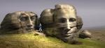 Обои Дедушка у изваяний гигантских голов, by Kellepics