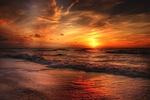 Обои Побережье North Sea / Северного моря на закате дня