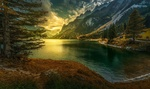 Обои Закат на озере Gosau / Гозау, Austria / Австрия, фотограф Konstantin Fedorov