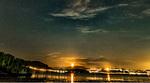 Обои Берег в ночных огнях под звездным небом