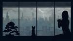 Обои Силуэты девушки с чашкой и кошки, сидящих на окне и смотрящих на город под дождем, by Aquelion