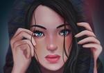 Обои Девушка с голубыми глазами держит руки у лица, by alexiafelix