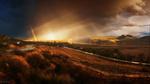 Обои Осенний пейзаж с дорогой под тучами дождем и радугой, фотограф Семенюк Василий
