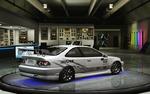 Обои Автомобиль белый Honda Civic Si на подиуме из игры NFS: Underground 2 в мастерской стайлинга