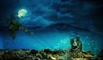 Обои Русалка сидит под водой на затонувшей женской скульптуре, на фоне полной луны в ночном небе, by Anja Osenberg