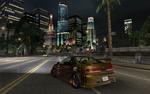 Обои Автомобиль Acura Integra Type R на фоне зданий ночного города Олимпик-Сити в игре NFS: Underground