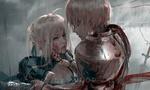 Обои Saber / Сабер и Gilgamesh стоят под дождем из аниме Fate / stay night / Судьба: Ночь Прибытия, by Wang Ling (Wlop)