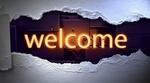 Обои В дыре в картонной стене светящаяся надпись Welcome / Добро пожаловать, на абстрактном фоне, by PIRO4D