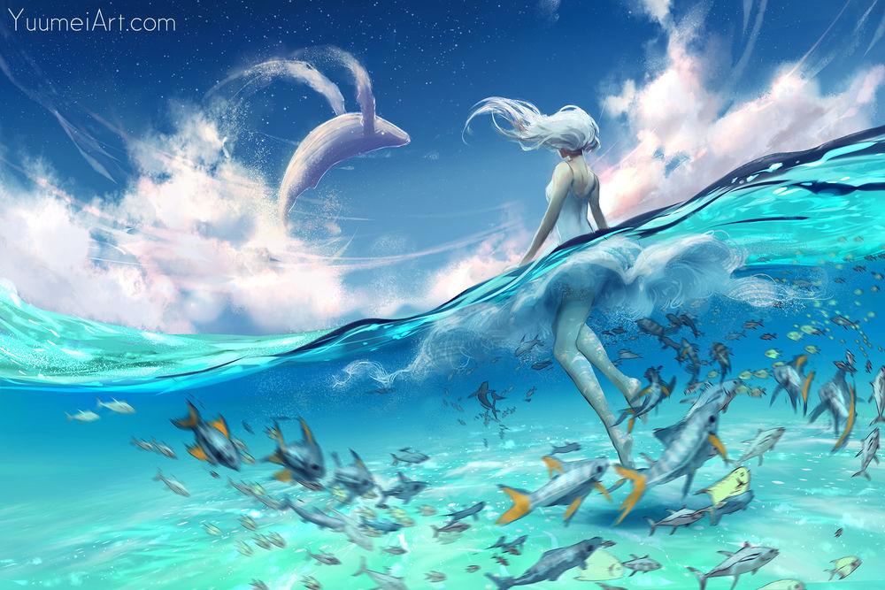 Обои для рабочего стола Белокурая девушка в воде среди рыб на фоне летающего кита, by yuumei