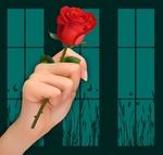 Обои Алая роза зажатая в руке в почти неприличном жесте, на фоне рисованного окна, by Susan Cipriano