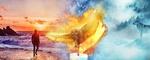 Обои Горящая сова над свечой, мужчина у кромки прибоя на закате, и одинокий волк на заснеженном пригорке, фантасмагория стилизованная под старую картину, by Lila Wind