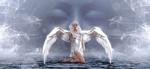 Обои Девушка-белый ангел на воде