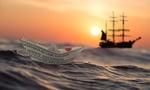Обои Бумажный кораблик в океане, на фоне плывущего парусника, by Silvia & Frank