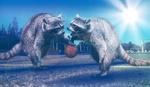 Обои Еноты играют в баскетбол, by Comfreak