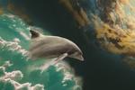 Обои Прыжок дельфина сквозь облака, by Myriam