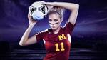 Обои Девушка футболистка с мячом в руках и с номером 11 на футболке фирмы adidas / адидас