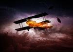 Обои Одномоторный самолет, горящий в грозовом небе, by Comfreak