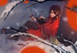 Обои Koujaku сидит на снегу под деревом с птичкой на руке, из визуальной новеллы и аниме DRAMAtical Murder / Драматическое убийство, by Honyarara