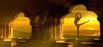 Обои Балерина, на закате солнца танцующая на открытой галерее замка, рядом с ней громадная ядовитая жаба, by Stefan Keller