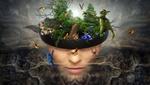 Обои Голова женщины в головном уборе с частичкой сказочного леса и его обитателями, фантасмагория, by Stefan Keller