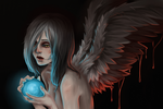 Обои Обнаженная девушка ангел с голубым шаром в руках, by Nozomi-Art