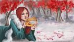 Обои Британская актриса Sophie Turner / Софи Тернер в роли Sansa Stark / Санса Старк из сериала Game of Thrones / Игра престолов лежит на снегу с короной в руках, by Nozomi-Art