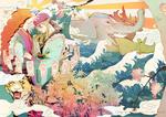 Обои Шаман экзорцист Kusuriuri с магическими печатями среди волн и цветов, слона, тигра и носорога, из аниме Мононоке / Mononoke