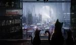 Обои Трое кошек наблюдают за жизнью ночного фантастического города, by Mammia