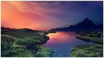 Обои Розовый закат над природой с рекой, by Ellysiumn Art