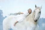 Обои Девочка в белом платье верхом на белой лошади, by Dorota Kudyba