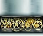 Обои Векторный арт, шестиренки в металлическом фоне