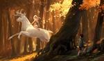 Обои Мальчик-турист внезапно увидел в осеннем лесу девочку скачущую на белом олене, by sandara