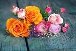 Обои Букет цветов на досках