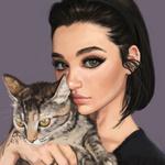 Обои Модель Michele Alves с кошкой, арт by Ivаn Talavera