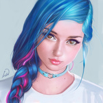 Обои Девушка с голубыми волосами и розовыми прядями, заплетенными в косу, by ivantalavera