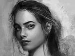 Обои Черно-белый портрет девушки, by abeer malik