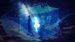 Обои Парень, девушка и собака в стеклянном кубе, на котором нарисован циферблат, и кит на фоне космоса