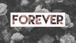 Обои Надпись Forever / Вечность на фоне цветов в черно-белом цвете