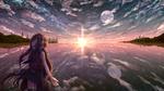 Обои Девушка стоит на берегу озера спиной к заходящему солнцу, на небе появилась полная луна и звезды