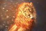 Обои Лев с огненной шерстью под падающим снегом, by Lesventie