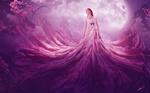 Обои Belinda / Белинда стоит в мистическом платье на фоне планеты в небе, by zacky7avenged