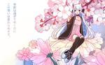 Обои Белокурая девушка с кошачьими ушками сидит на розовых цветах, by mizurene