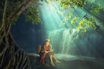 Обои Девушка с корзиной на спине сидит у водопада в лесу, by Sasin Tipchai